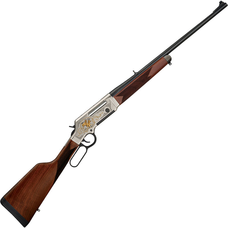 """Henry Long Ranger Deluxe Wildlife Lever Action Rifle .243 Win 20"""" Barrel 4 Rounds with Sights Antelope Engraved Receiver Walnut Stock Nickel/Blued Finish"""