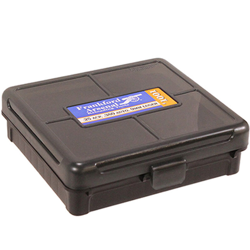 Frankford Arsenal Plastic Hinge-Top Ammo Box 100 Round  380ACP/9mm and  Similar Polymer Gray