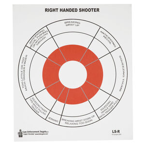 "Action Target Right Handed Handgun Feedback Target 10.5"" x 12"" Black and Red 100 Pack"