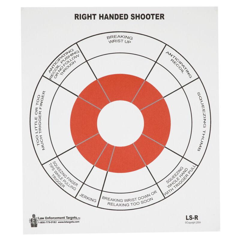"""Action Target Right Handed Handgun Feedback Target 10.5"""" x 12"""" Black and Red 100 Pack"""