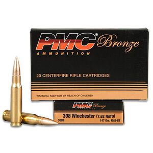PMC Bronze .308 Winchester Ammunition 147 Grain FMJ 2780 fps 20 Rounds per Box