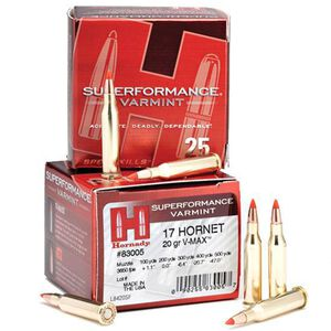 Hornady Superformance 17 Hornet 20 Grain V-Max 25 Rnd Box