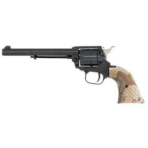 """Heritage Rough Rider .22 LR Single Action Rimfire Revolver 6.5"""" Barrel 6 Rounds   Synthetic Copperhead Grips Black Finish"""