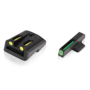 TRUGLO TFO GLOCK Large Frame Tritium/Fiber Front And Rear Sight Set Green/Yellow CNC Machined Steel Black TG131GT2Y