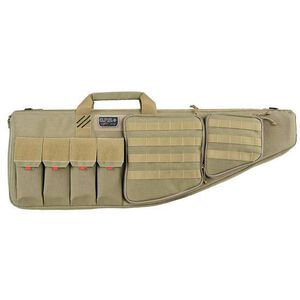 "G-Outdoors G.P.S. Tactical Rifle Case 35"" With External Handgun Case 1000 Denier Heavy Duty Material DuPoint Teflon Coated Tan Finish"