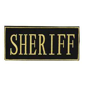 "Voodoo Tactical Law Enforcement SHERIFF Patch 2"" x 4"" Velcro/Sew-On Black With Yellow Text 772817219"