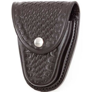 "Gould & Goodrich Handcuff Case Leather Fits 2-1/4"" Belt Brass Snap Black Basket Weave Finish B70W"