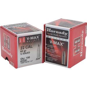 Hornady .22 .224 Bullet, 100 Projectiles, V-Max, 60 Grains
