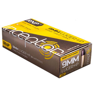 Inceptor Sport Utility Ammo 9mm Luger +P Ammunition 50 Rounds 65 Grain RNP Lead Free Injection Molded Copper-Polymer Projectile Frangible 1565fps