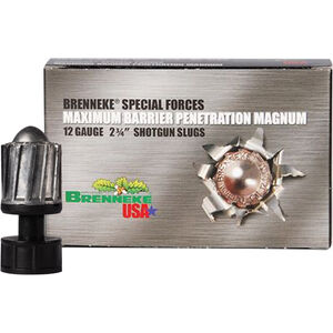 "Brenneke Special Forces Maximum Barrier Penetration 12 Gauge Ammunition 5 Rounds 2-3/4"" 1-3/8oz Rifled Lead Slug 1650fps"