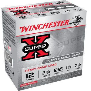 "Winchester Super X Heavy Game Load 12 Gauge Ammunition 100 Round Value Pack 2-3/4"" #7.5 Lead 1-1/8 Ounce 1225 fps"
