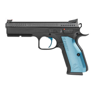 "CZ Shadow 2 SA Semi Auto Pistol 9mm Luger 4.89"" Barrel 17 Rounds Aluminum Blue Grips Black Finish"