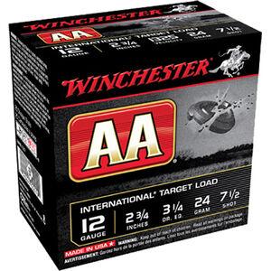 "Winchester USA AA International Target Load 12 Gauge Ammunition 2-3/4"" #7.5 Lead Shot 24 Gram 1326 fps"