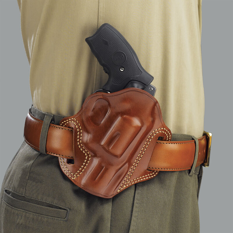 """Galco Combat Master Belt Holster Fits S&W N-Frame 4"""" Revolvers Right Hand Leather Tan"""