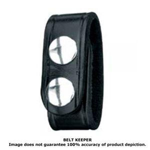 Gould & Goodrich Belt Keeper Leather Double Snap Black Weave B76W
