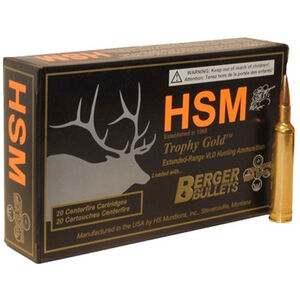 HSM Trophy Gold .338 Lapua Ammunition 20 Rounds Berger Hybrid OTM 250 Grains BER-338LAPUA250OTM68