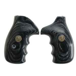 Pachmayr Renegade Deluxe Wood Laminate Revolver Grips S&W K/L Frame Round Butt Revolver Smooth Panels Charcoal Silvertone