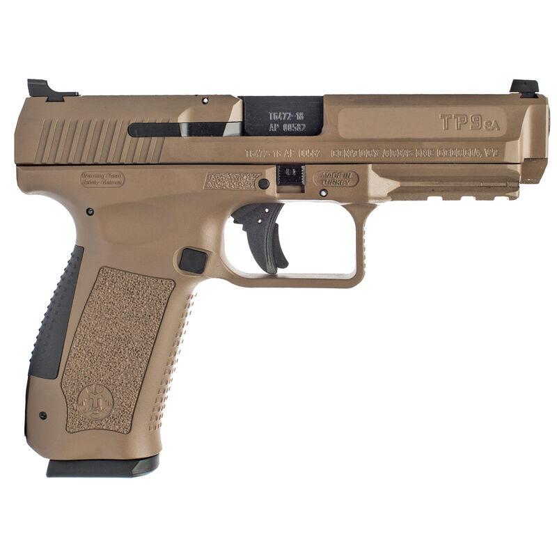 "Canik TP9SA Mod2 9mm Luger Semi Auto Pistol 4.46"" Match Grade Barrel 18 Rounds Warren Tactical Sights Polymer Frame Flat Dark Earth Finish"