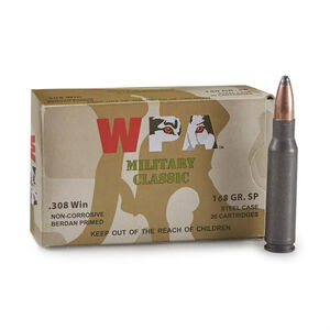 Wolf Military Classic .308 Winchester Ammunition 168 Grain Bi-Metal Jacket SP Steel Case 2