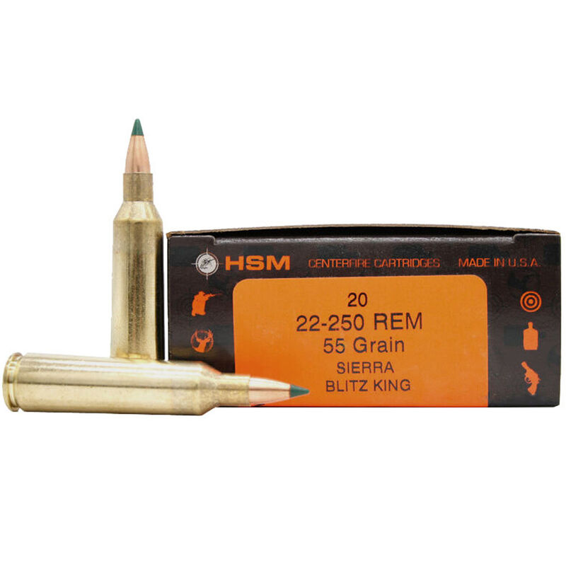 HSM .22-250 Remington Ammunition 20 Rounds 55 Grain Sierra BlitzKing 3610 fps