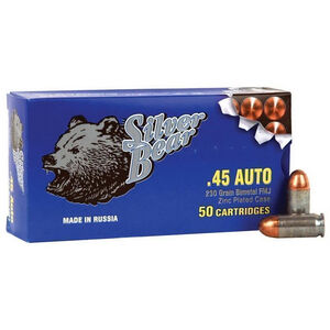 Silver Bear .45 ACP Ammunition 50 Rounds Zinc Plated Steel Case FMJ 230 Grains AS45FMJ