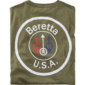 Beretta USA Logo T-Shirt Short Sleeve Cotton Brown 2X-Large