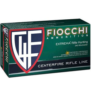 Fiocchi Rifle Shooting Dynamics .243 Winchester Ammunition 20 Rounds 100 Grain SP Interlock BT Projectile 3050 fps