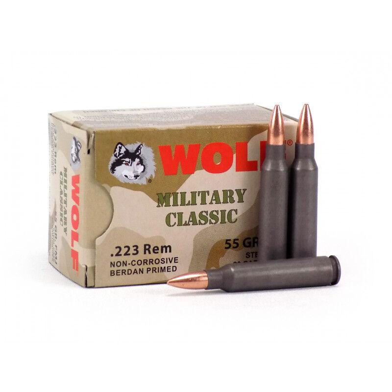 Wolf Military Classic .223 Remington Ammunition 55 Grain Bi-Metal FMJ Steel Cased 3130 fps