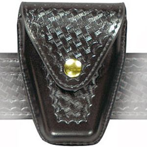 Safariland Model 190 Handcuff Pouch Hinged Cuffs Top Flap Brass Snap SafariLaminate Basket Black 190H-4B