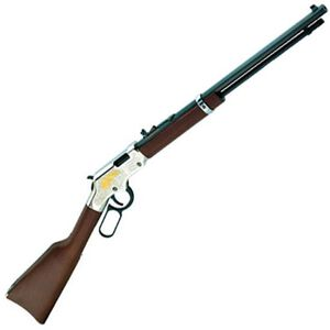 """Henry Repeating Arms Golden Eagle Lever Action Rifle Rimfire .22 LR/L/S 20"""" Octagon Barrel 16 Rounds Engraved Receiver Adjustable Rear Sight Walnut Stock Nickel Plated Finish H004GE"""