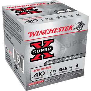 "Winchester Super X Game Load .410 Bore Ammunition 250 Rounds 2.5"" #4 Lead 1/2 Ounce X414"