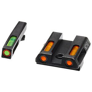 HiViz Litewave H3 Tritium/Litepipe fits GLOCK 42/43 Models Green Front Sight with Orange Front Ring/Orange Rear Sight Steel Housing Matte Black