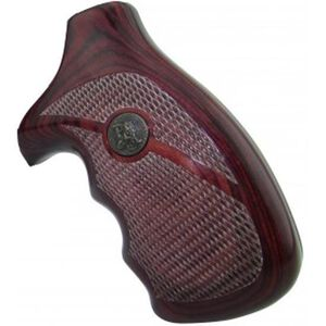 Pachmayr Renegade Deluxe Wood Laminate Revolver Grips S&W J-Frame Round Butt Revolver Checkered Cut Panels Rosewood