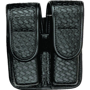 Bianchi Double Magazine Pouch Fits GLOCK 17/19 Hidden Snap Leather Basketweave Black