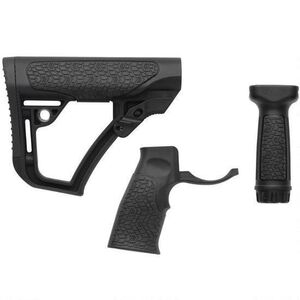 Daniel Defense AR-15 Furniture Kit Buttstock/Pistol Grip/Picatinny Vertical Foregrip Combo Mil-Spec Diameter Compatible Polymer Black Finish