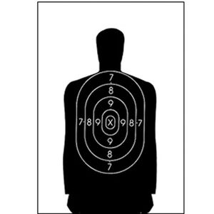 "Action Target B-34 Qualification Target 25 Yard 17.5"" x 23"" Paper Black 100 Pack"