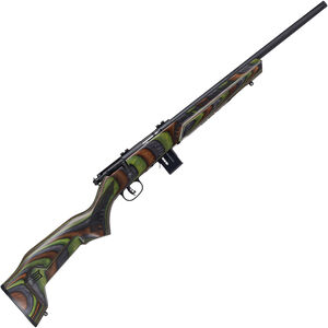 "Savage Model 93R17 Minimalist .17 HMR Bolt Action Rimfire Rifle 18"" Threaded Barrel 10 Rounds Green Minimalist Laminate Stock Black Finish"