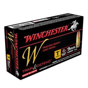 Winchester Train and Defend 9mm Ammunition Reduced Lead FMJ 147 Grains 950 fps