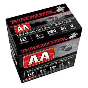 "Winchester AA Low Recoil 12 Gauge Ammunition 250 Rounds 2.75"" #8 Lead 26 Grams AA12FL8"