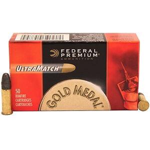 Federal Gold Medal UltraMatch .22LR Ammunition 50 Rounds LRN 40 Grain 1,080 Feet Per Second