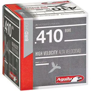 "Aguila High Velocity Bird Shot .410 Bore Ammunition 25 Rounds 2-1/2"" #8 Lead 1/2oz 1275fps"
