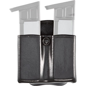 Aker Leather 523 DMS Twin Magazine Pouch Size 01 .45 ACP Leather Plain Black A523-BP-1