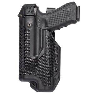 BLACKHAWK! Epoch Glock 17, 19, 22, 23, 31, 32 Level 3 Light Bearing Duty Holster Polymer Left Hand Basketweave Black 44E000BW-L