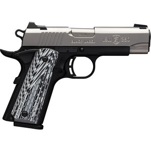 "Browning 1911-380 Black Label Pro .380 ACP Semi Auto Pistol 3.625"" Barrel 8 Rounds 3-Dot Sights G10 Grips Steel Slide Polymer Frame Two Tone Stainless/Black Finish"