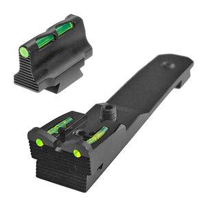 HiViz Henry Rifle Fiber Optic Sight Set Adjustable Rear Sight Steel Black