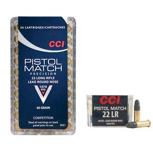 CCI Pistol Match .22LR Ammunition 40 Grain LRN 1070 fps
