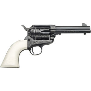 """Taylor's & Co Outlaw Legacy .357 Mag Single Action Revolver 4.75"""" Barrel 6 Rounds Synthetic Ivory Grips Outlaw Gang Engraved Blued Finish"""