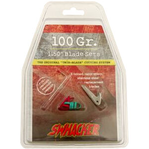 """Swhacker Products Set of 6, 1.5"""" Broadhead Replacement Blades Stainless Steel 6 Blades with Shrink Tubing SNJ-580-M4NBY"""