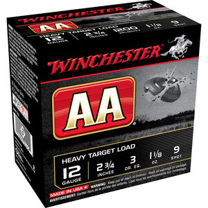 "Winchester USA AA Heavy Target Load 12 Gauge Ammunition 2-3/4"" #9 Lead Shot 1-1/8 oz 1200 fps"