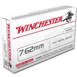 Winchester USA 7.62x51 NATO Ammunition 20 Rounds FMJ 147 Grains Q3130
